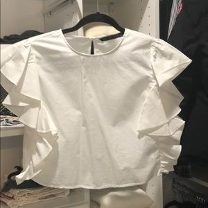 Zara white crop ruffle sleeve top